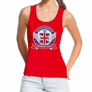 Rood united kingdom drinking team t shirt zonder mouw/mouwloos shirt