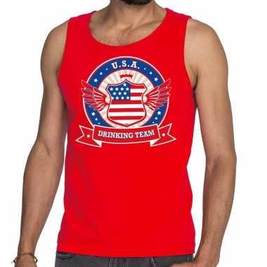 Rood usa drinking team t shirt zonder mouw / mouwloos shirt heren