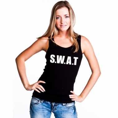 S.w.a.t tekst singlet shirt/ t shirt zonder mouw zwart dames