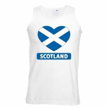Schotland hart vlag singlet shirt/ t shirt zonder mouw wit heren