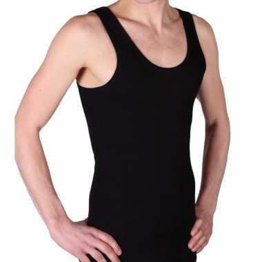 Set stuks beeren heren hemd/singlet zwart % katoen, maat: l zonder mouw