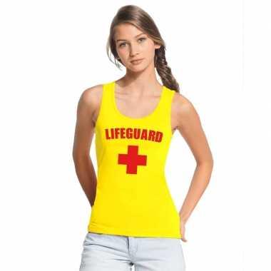 Sexy lifeguard/ strandwacht mouwloos shirt geel dames zonder