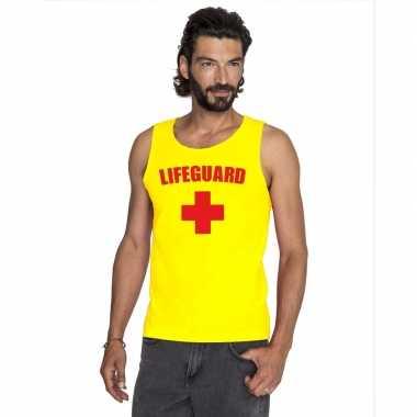 Sexy lifeguard/ strandwacht mouwloos shirt geel heren zonder