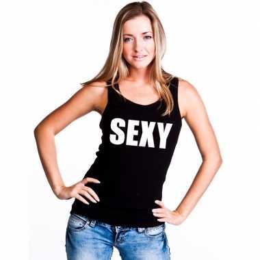 Sexy tekst singlet shirt/ t shirt zonder mouw zwart dames