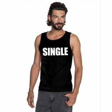 Single tekst singlet shirt/ t shirt zonder mouw zwart heren