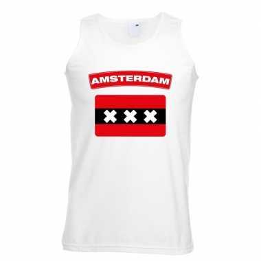 Singlet shirt/ t shirt zonder mouw amsterdamse vlag wit heren
