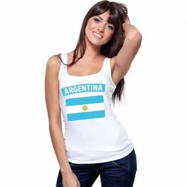 Singlet shirt/ t shirt zonder mouw argentijnse vlag wit dames