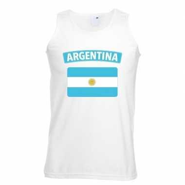 Singlet shirt/ t shirt zonder mouw argentijnse vlag wit heren