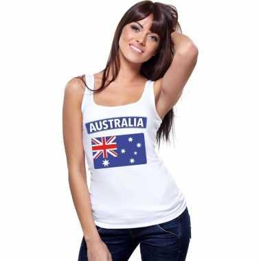 Singlet shirt/ t shirt zonder mouw australische vlag wit dames