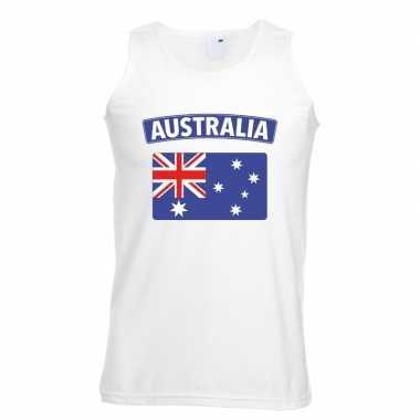 Singlet shirt/ t shirt zonder mouw australische vlag wit heren