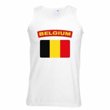 Singlet shirt/ t shirt zonder mouw belgische vlag wit heren