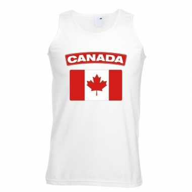 Singlet shirt/ t shirt zonder mouw canadese vlag wit heren