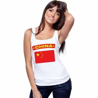 Singlet shirt/ t shirt zonder mouw chinese vlag wit dames