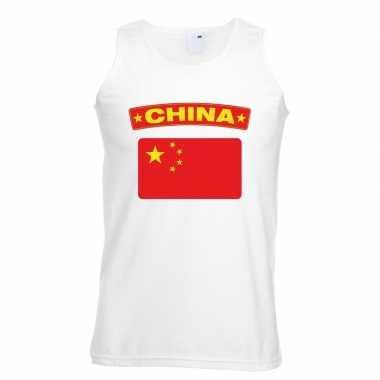Singlet shirt/ t shirt zonder mouw chinese vlag wit heren