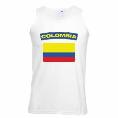 Singlet shirt/ t shirt zonder mouw colombiaanse vlag wit heren