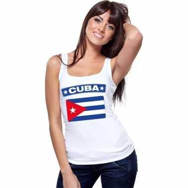 Singlet shirt/ t shirt zonder mouw cubaanse vlag wit dames