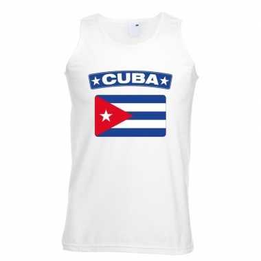 Singlet shirt/ t shirt zonder mouw cubaanse vlag wit heren
