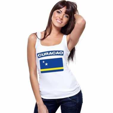 Singlet shirt/ t shirt zonder mouw curacao vlag wit dames