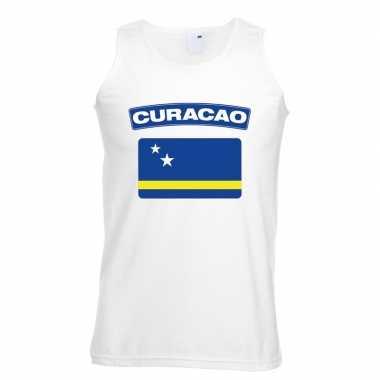 Singlet shirt/ t shirt zonder mouw curacao vlag wit heren