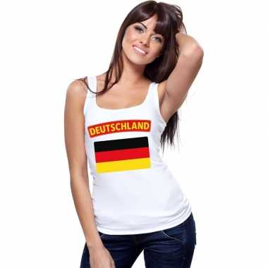 Singlet shirt/ t shirt zonder mouw duitse vlag wit dames