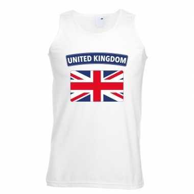 Singlet shirt/ t shirt zonder mouw engelse vlag wit heren