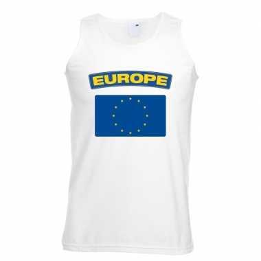 Singlet shirt/ t shirt zonder mouw europese vlag wit heren
