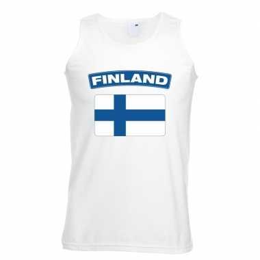 Singlet shirt/ t shirt zonder mouw finse vlag wit heren