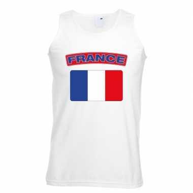 Singlet shirt/ t shirt zonder mouw franse vlag wit heren