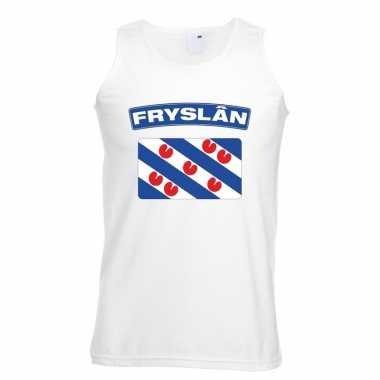 Singlet shirt/ t shirt zonder mouw friese vlag wit heren