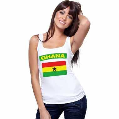 Singlet shirt/ t shirt zonder mouw ghana vlag wit dames