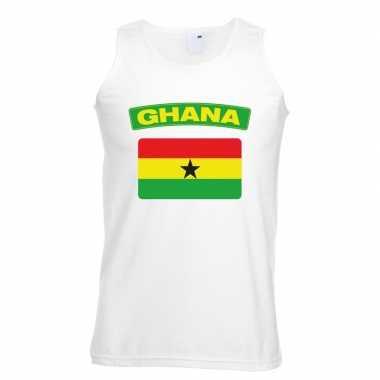 Singlet shirt/ t shirt zonder mouw ghanese vlag wit heren