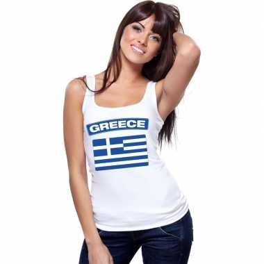 Singlet shirt/ t shirt zonder mouw griekse vlag wit dames