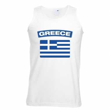 Singlet shirt/ t shirt zonder mouw griekse vlag wit heren