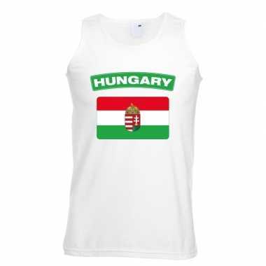 Singlet shirt/ t shirt zonder mouw hongaarse vlag wit heren