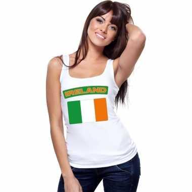 Singlet shirt/ t shirt zonder mouw ierse vlag wit dames