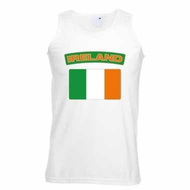 Singlet shirt/ t shirt zonder mouw ierse vlag wit heren