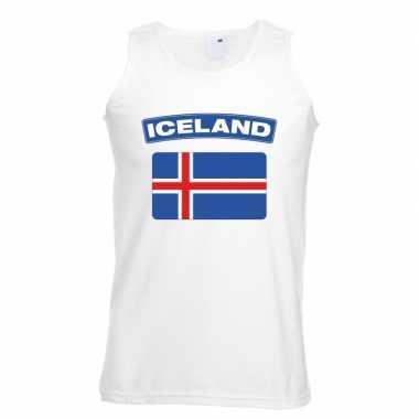 Singlet shirt/ t shirt zonder mouw ijslandse vlag wit heren