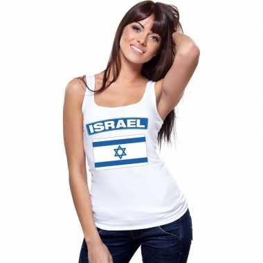 Singlet shirt/ t shirt zonder mouw israelische vlag wit dames