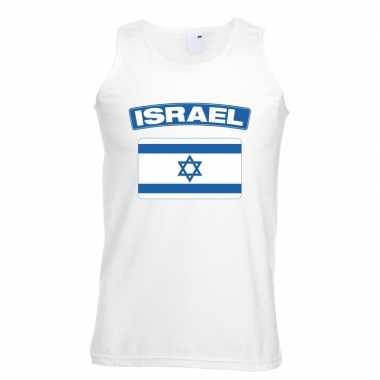 Singlet shirt/ t shirt zonder mouw israelische vlag wit heren