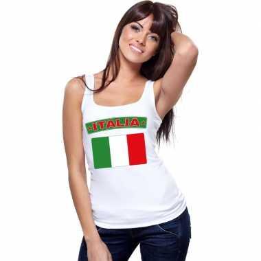 Singlet shirt/ t shirt zonder mouw italiaanse vlag wit dames