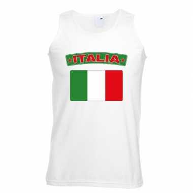 Singlet shirt/ t shirt zonder mouw italiaanse vlag wit heren