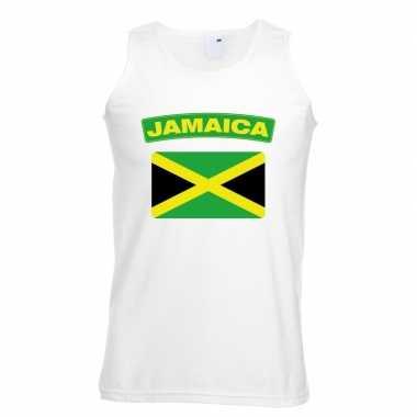 Singlet shirt/ t shirt zonder mouw jamaicaanse vlag wit heren
