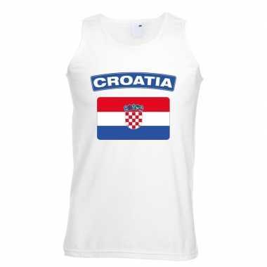 Singlet shirt/ t shirt zonder mouw kroatische vlag wit heren
