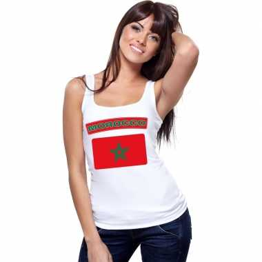 Singlet shirt/ t shirt zonder mouw marokaanse vlag wit dames