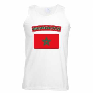 Singlet shirt/ t shirt zonder mouw marokaanse vlag wit heren