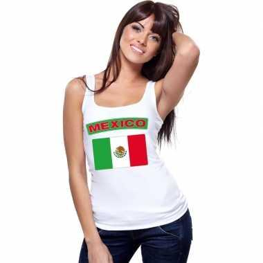 Singlet shirt/ t shirt zonder mouw mexicaanse vlag wit dames
