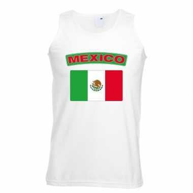 Singlet shirt/ t shirt zonder mouw mexico vlag wit heren