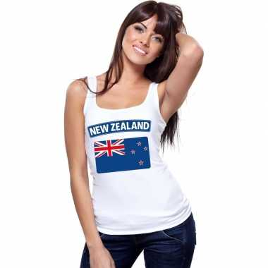 Singlet shirt/ t shirt zonder mouw nieuw zeelandse vlag wit dames