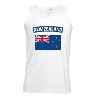 Singlet shirt/ t shirt zonder mouw nieuw zeelandse vlag wit heren