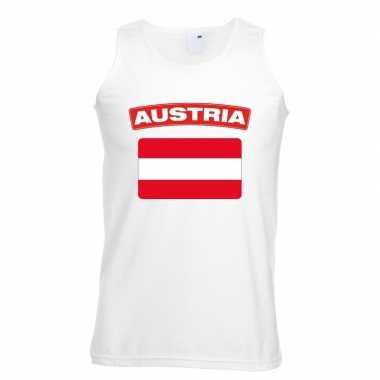 Singlet shirt/ t shirt zonder mouw oostenrijkse vlag wit heren